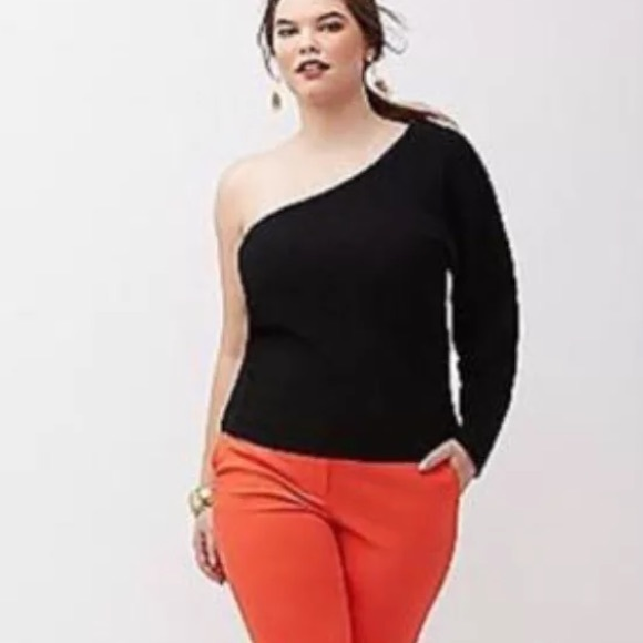 7f495c21cd7 Lane Bryant Tops - NEW Lane Bryant Black Sweater One Shoulder Top.