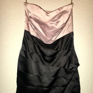 Pink and black strapless dress
