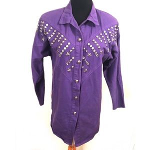 Incredible studded vintage top blouse