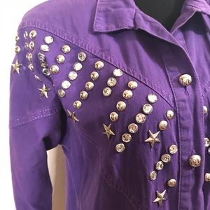 Vintage Tops - Incredible studded vintage top blouse