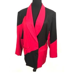 Vintage color blocked blazer jacket