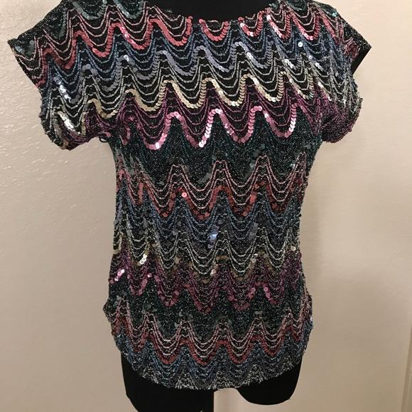 Vintage Tops - Cute vintage Sequin top blouse