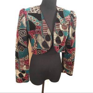 Vintage geometric velvet bolero jacket