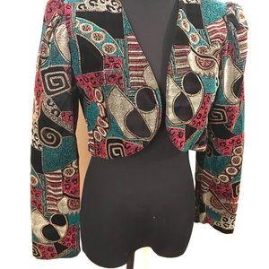 Vintage Jackets & Coats - Vintage geometric velvet bolero jacket