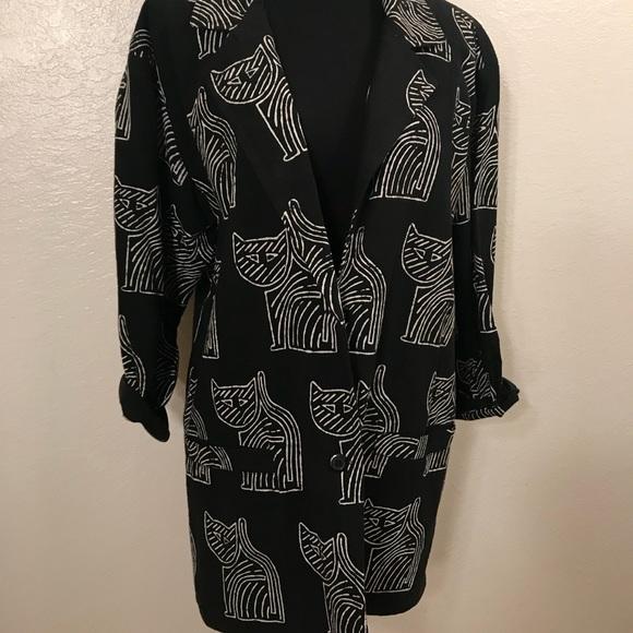 Vintage Jackets & Coats - Vintage oversized 90's cat blazer