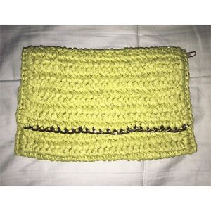 Lime Green Crocheted Clutch