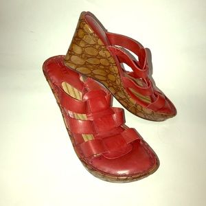 Born handcrafted footwear RED WEDGES