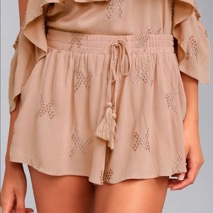 Lulus MAUVE EMBROIDERED SHORTS