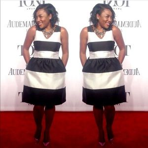 Black and White Stripe tea dress