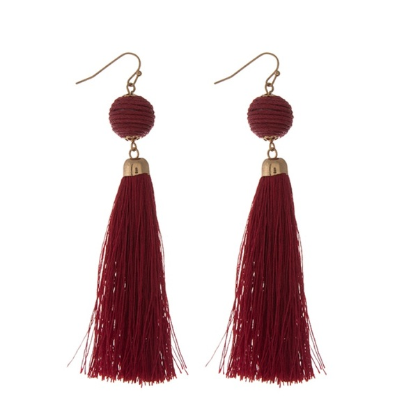 7a55a89ea Jewelry | Gorgeous Drop Down Deep Red Tassel Earrings | Poshmark