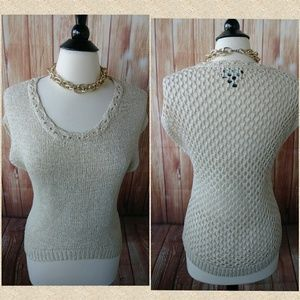Cream and gold sprinkled Sweater with fishnet back