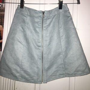 Baby blue suede zip up skirt