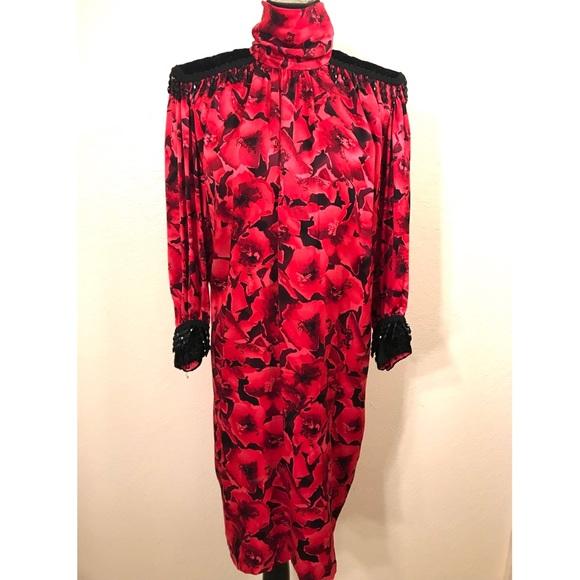 Vintage Dresses - Incredible 80's 100% silk dress