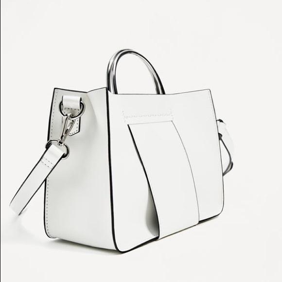fc5a52cdbad Zara Bags | White Mini Tote Bag With Metallic Handles | Poshmark
