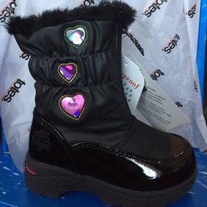 NWT waterproof heartful blk pink girl winter boots