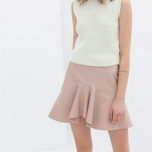 New Faux Leather Skirt Zara Blush Pink