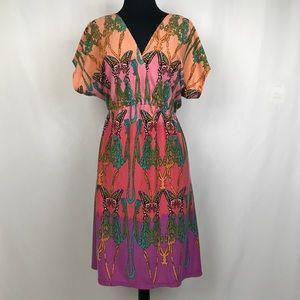 Pure Energy • Kimono Butterfly Print Deep-V Dress