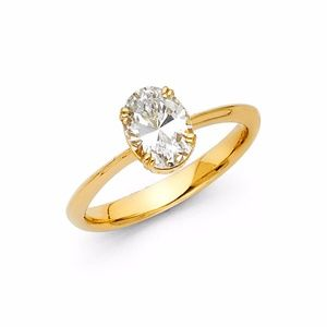 Jewelry - 14K Yellow Gold 1ct Oval Solitaire Engagement Ring