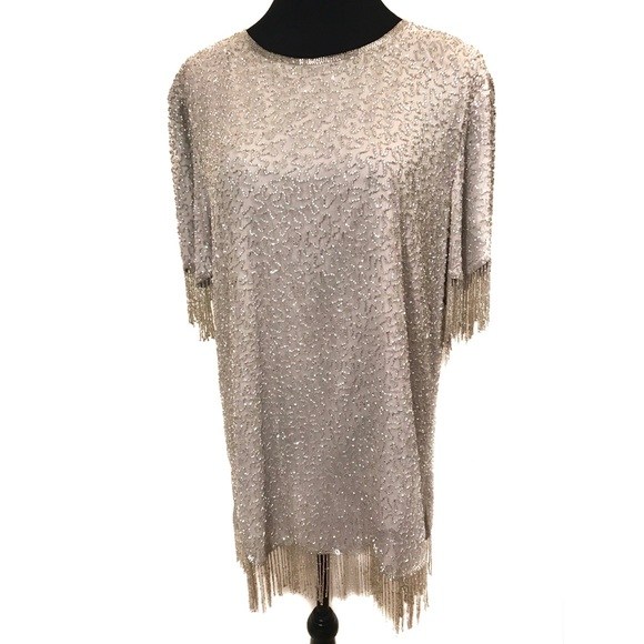 Vintage Tops - Gorgeous beaded fringe top blouse