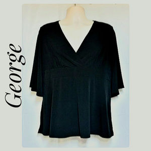 Flowy Black Top Butterfly Sleeves Size 16/18 XL