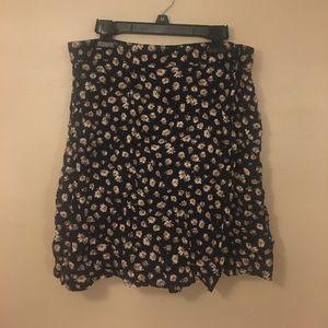 Vintage 1990s Grunge DARK Sunflower Skirt Boho