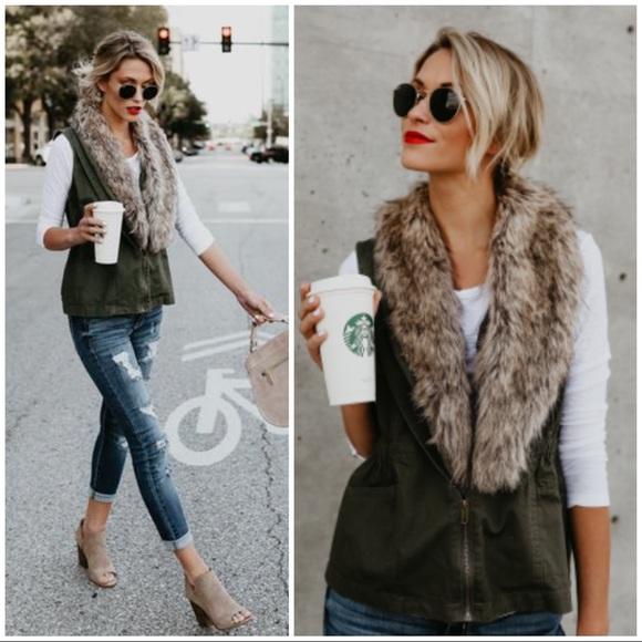 Jackets & Blazers - 🆕 Olive Green Cargo Faux Fur Trim Vest