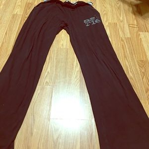 AERIE BLACK GRAY TRACK PANT LOGO PREOWNED LARGE