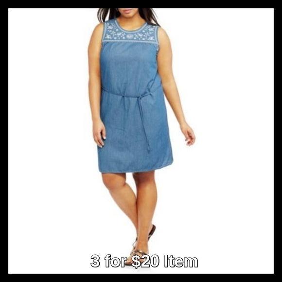 Dresses Plus Size Sleeveless Embroidered Denim Shirt Dress Poshmark