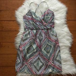Silk Shoshanna Pink Blue Patterned Dress Pockets