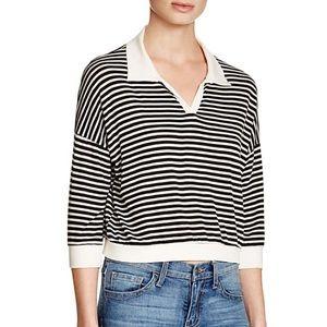 LNA 3/4 Sleeve Striped Tennis Top Black/Ivory