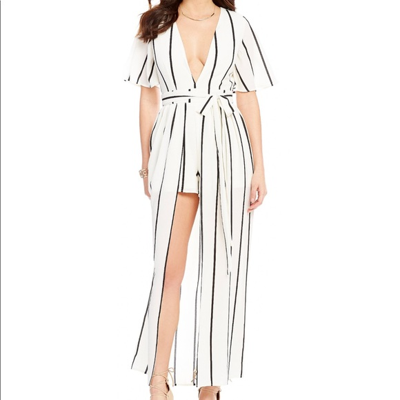 90e2270cf97a Socialite walk through overlay stripe maxi Romper