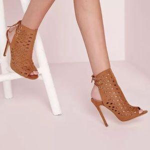 Misguided Peep Toe Cutout Heels Size 8