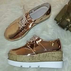 "NWOT*ASOS*ROSE GOLD 3"" PLATFORM SNEAKERS"