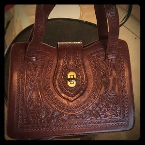 1960's handtooled mahogany leather handbag