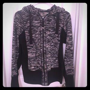 Zella black/white space dye full zip hoodie- small