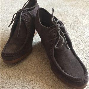 Ralph Lauren brown leather wedges Sz 8