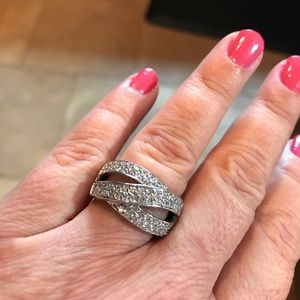 Jewelry - Sterling silver wide band and CZ ring