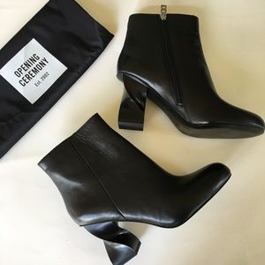 NEW OPENING CEREMONY black spiral heel ankle boots