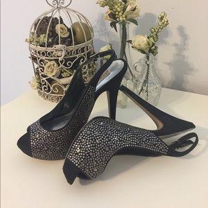 🚫SOLD🚫 Black & Crystal Peep-toe High Heels