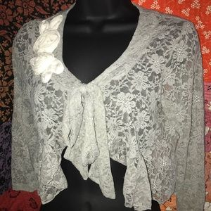 Anthropologie Gray Lace Stretch Jacket 3/4 slv M