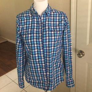 North face blue plaid western shirt