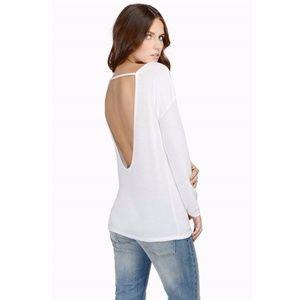 Tobi White Blackless Open Back Long Sleeve Sweater