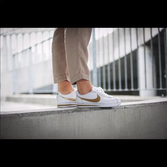 best value finest selection online retailer Nike Cortez women white and gold size 8