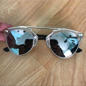 funky futuristic silver reflective sunglasses