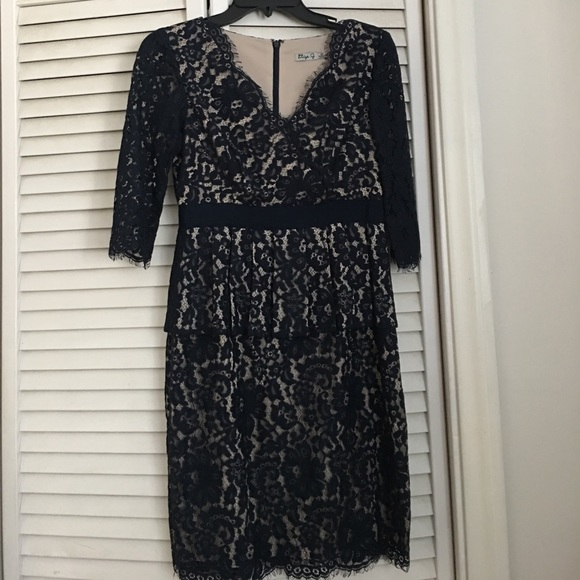 Dark Navy Blue With Beige Underlay Lace Dress