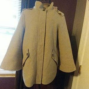 Zara Woman Oatmeal Military Pea Coat sz XS