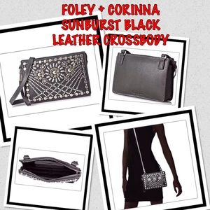 Foley + Corinna Sunburst Black Leather Crossbody