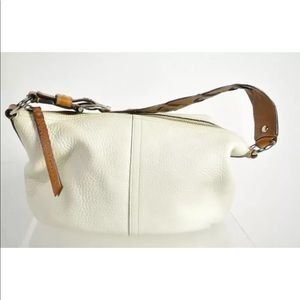 Ivory Leather Pebbled Braided Strap Zip Hobo Bag