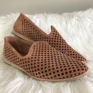 Pedro Garcia Yasmin Tan Perforated Suede Loafer