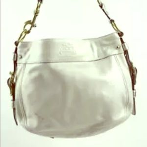 Coach Pewter Ivory Leather Shoulder Bag Purse